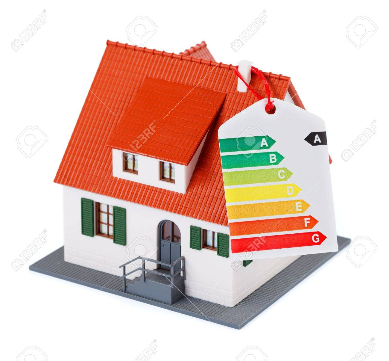 Miniature house with energy efficiency chart Stock Photo - 10845295