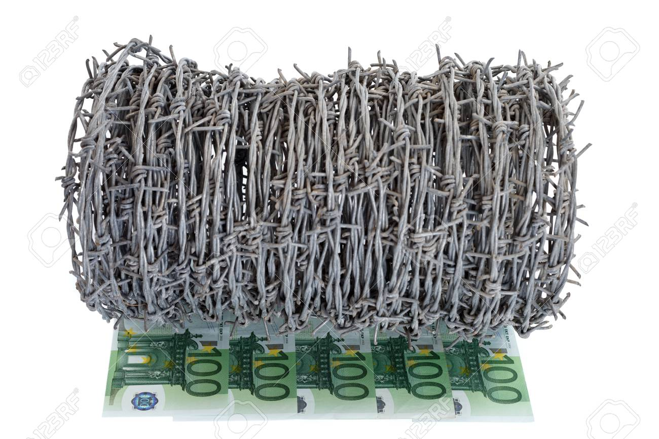 Euros with barbed wire on white background, concept Stock Photo - 10997824