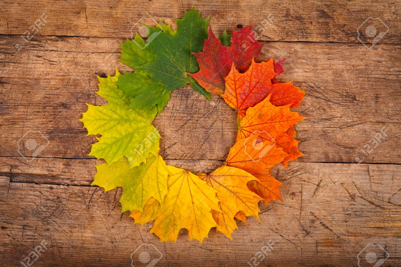 Colorful Autumn Leaves In Form Of Wreath On Rustic Wooden Background