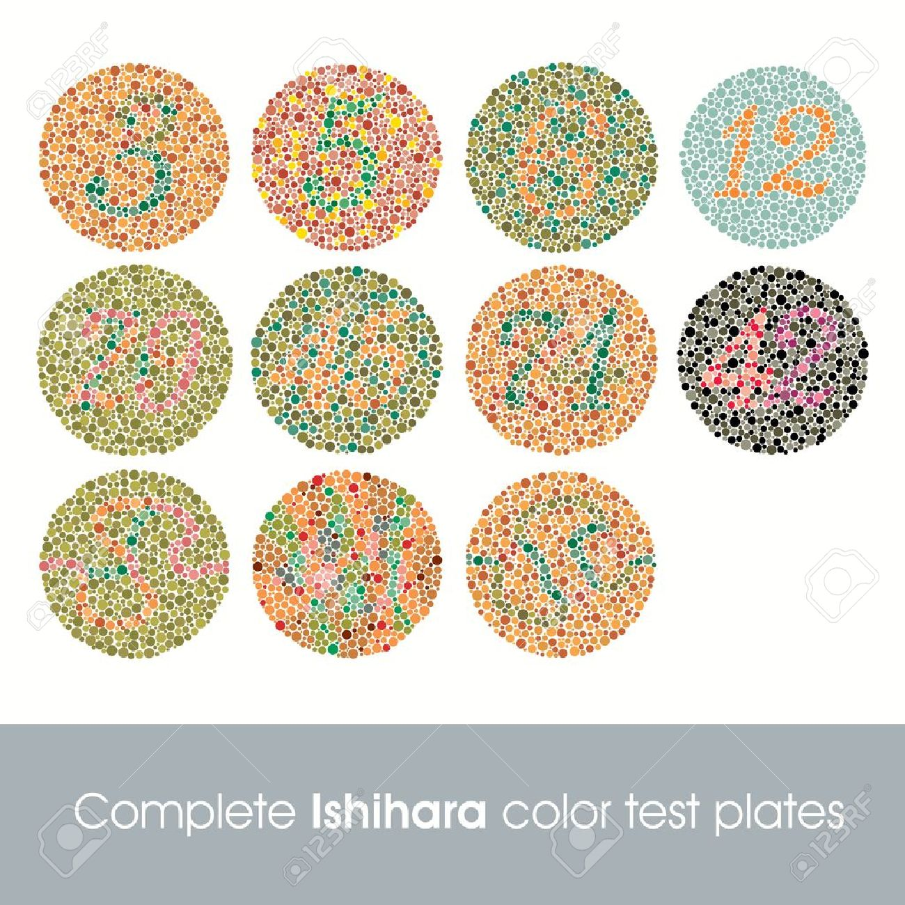 Complete Ishihara color test Stock Vector - 9728528