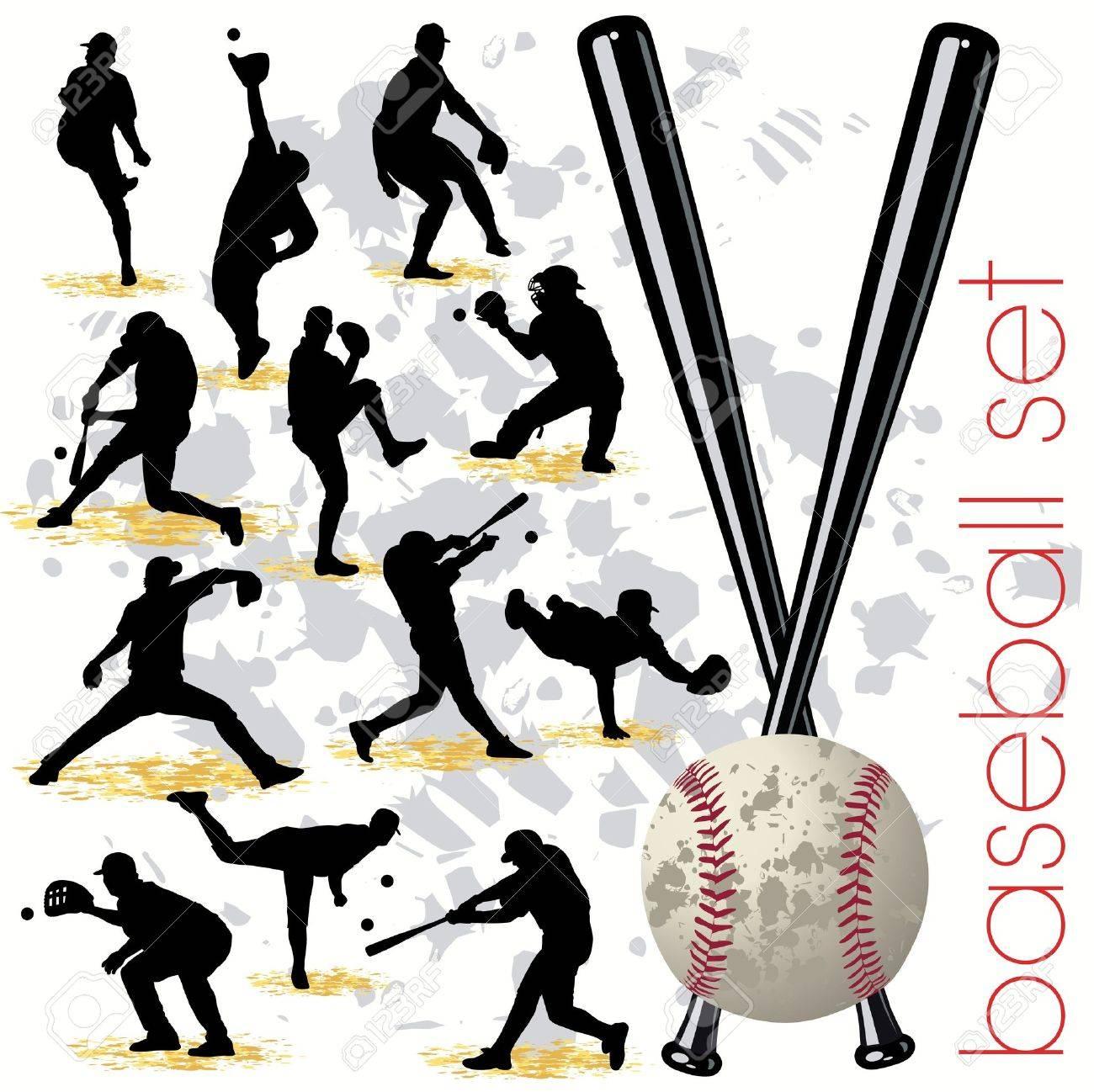 Baseball silhouettes set 01 Stock Vector - 9818032