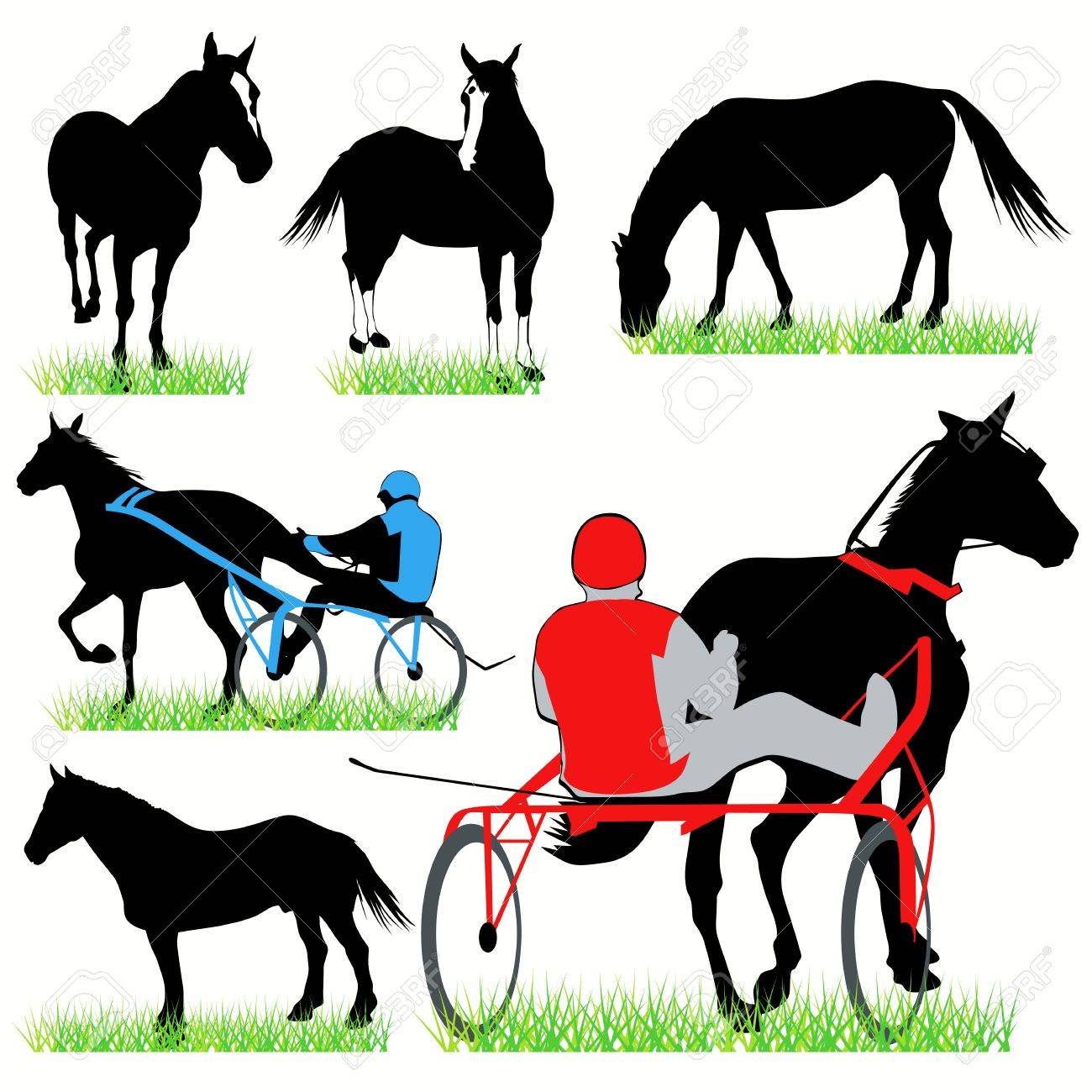 Jockeys and horses set Stock Vector - 9819999
