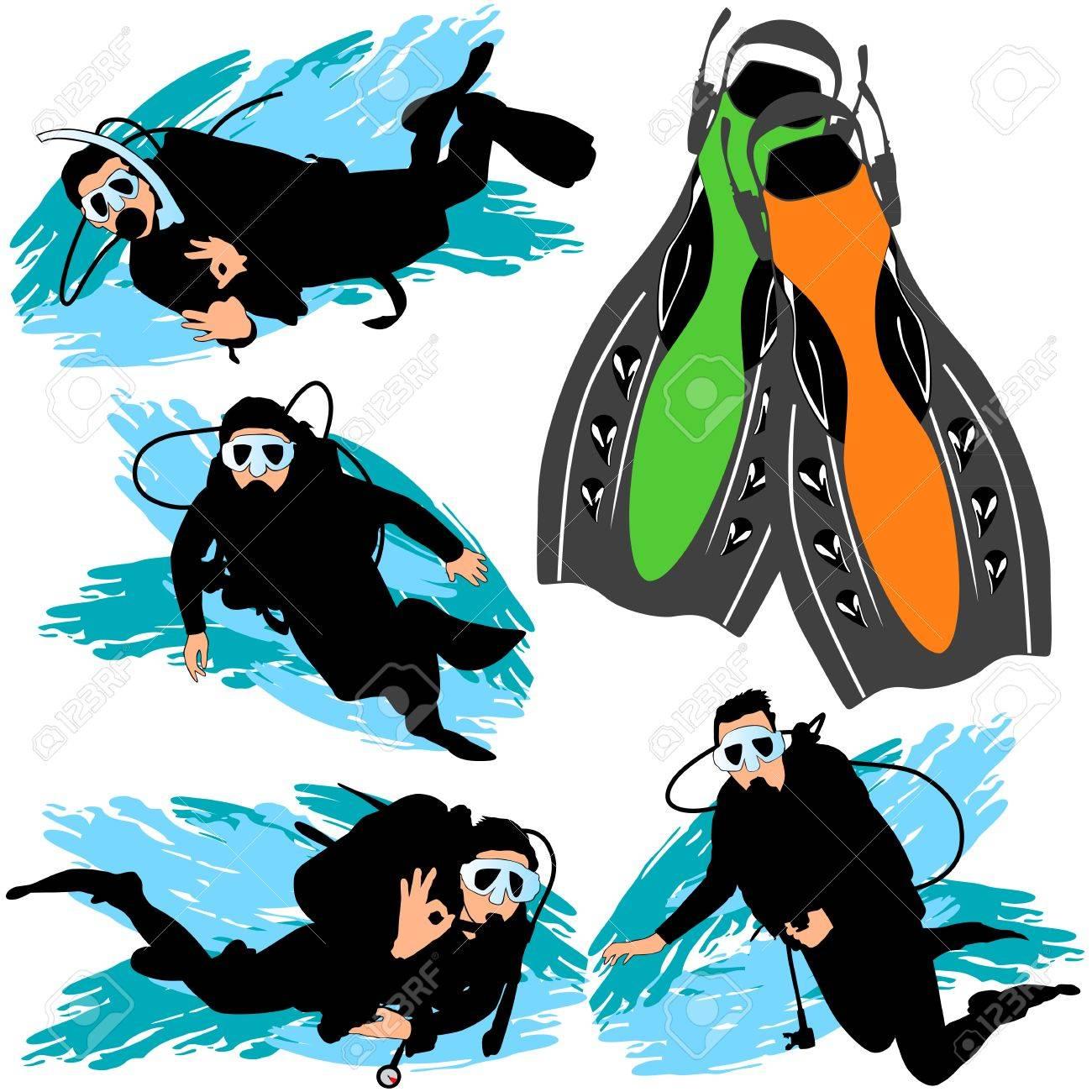 Scuba diving silhouettes set Stock Vector - 9903929