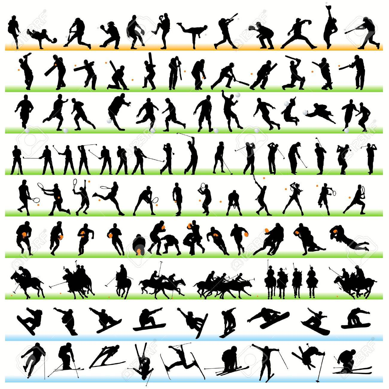 Sport silhouettes set.01 Stock Vector - 9903927