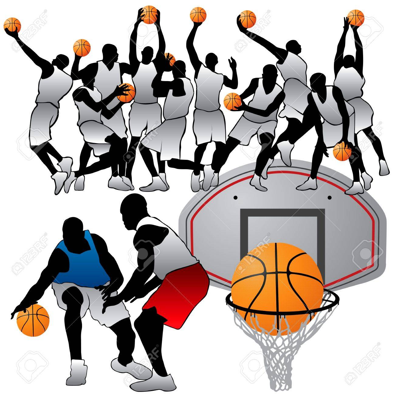 Basketball Players Silhouettes Set Stock Vector - 9995076