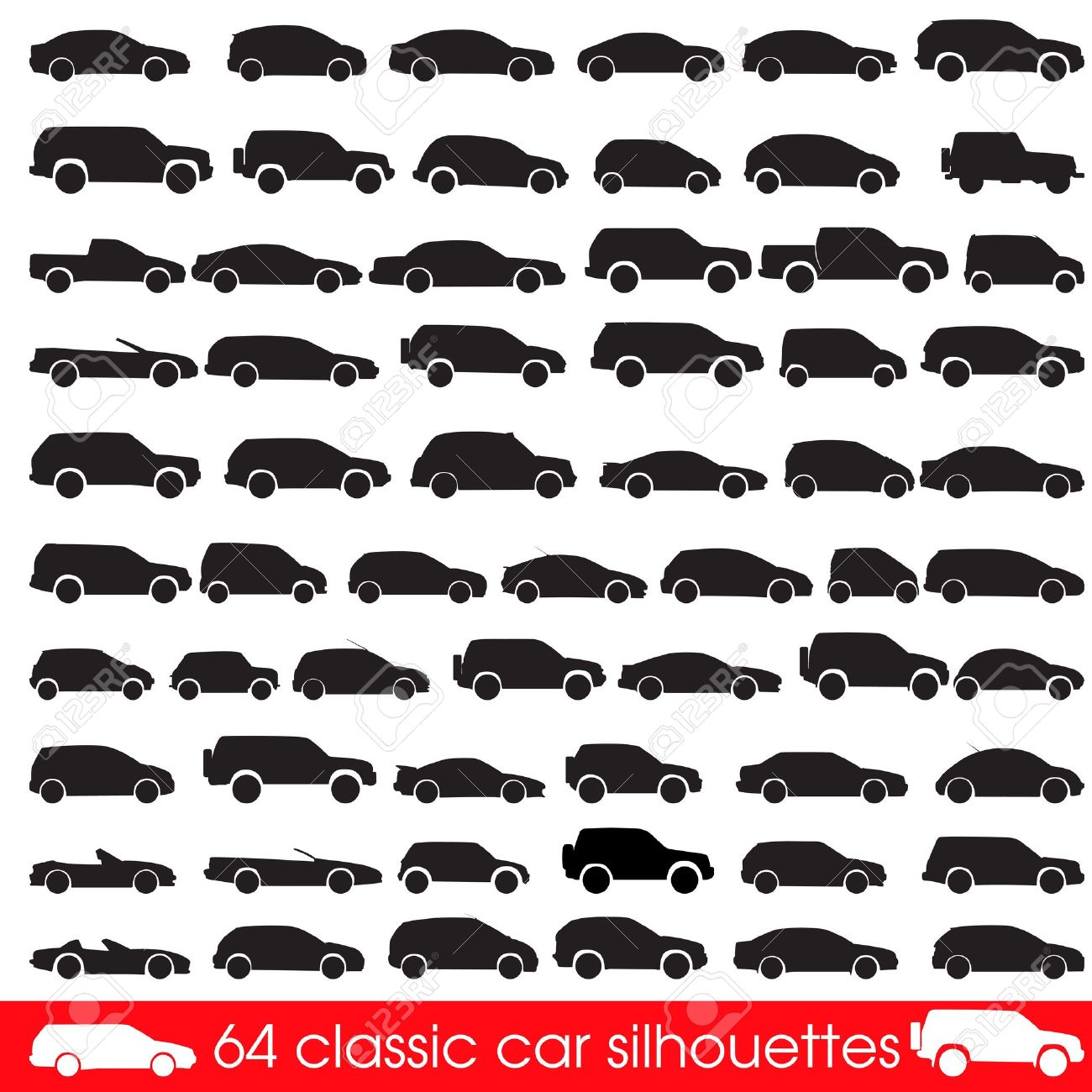 64 Classic Cars Silhouettes Royalty Free Cliparts Vectors And