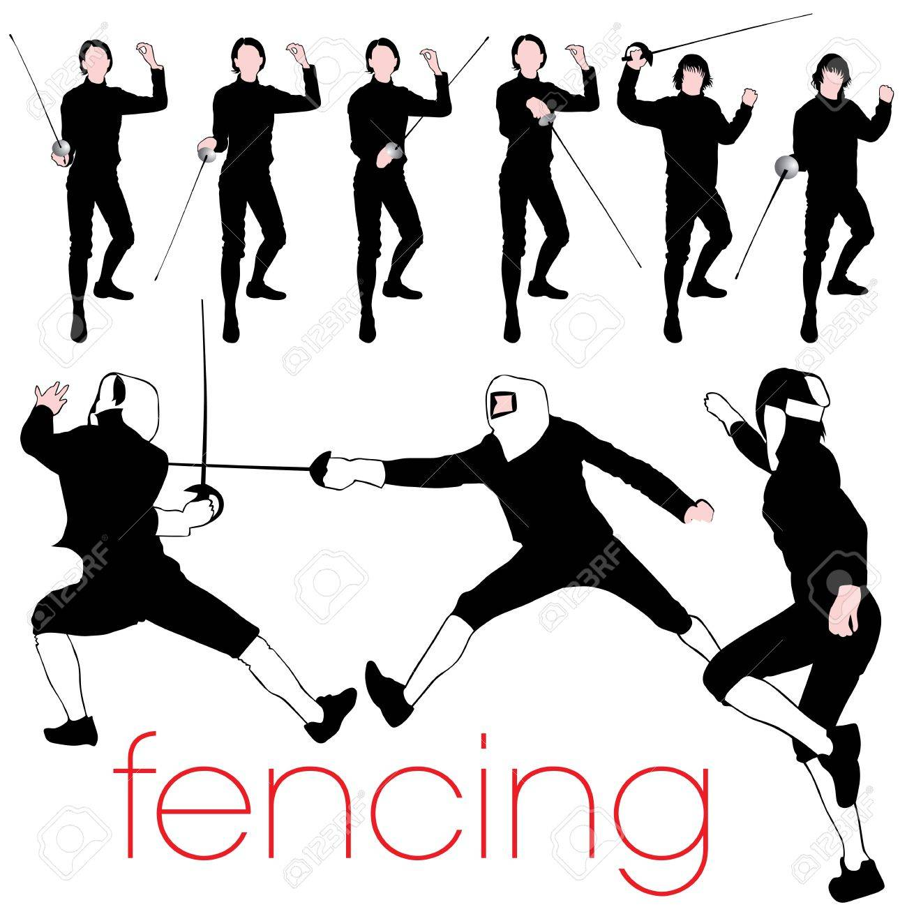 Fencing Silhouettes Set Stock Vector - 10874455