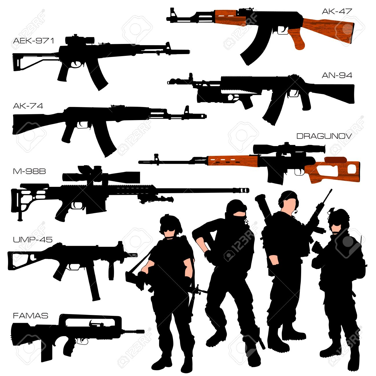 Automatic Weapons Set Stock Vector - 12056739
