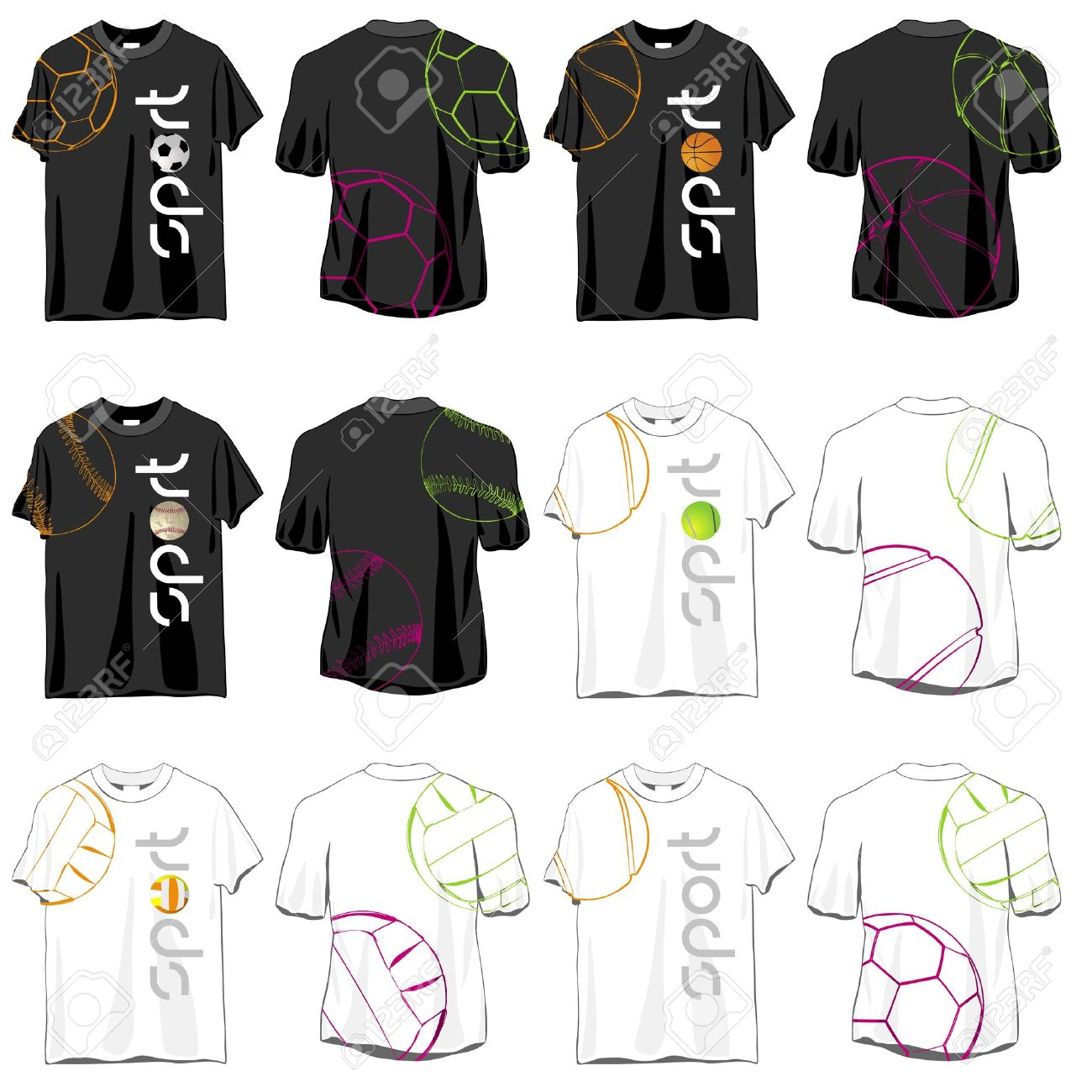 vector sport t shirts designs set - Volleyball T Shirt Design Ideas