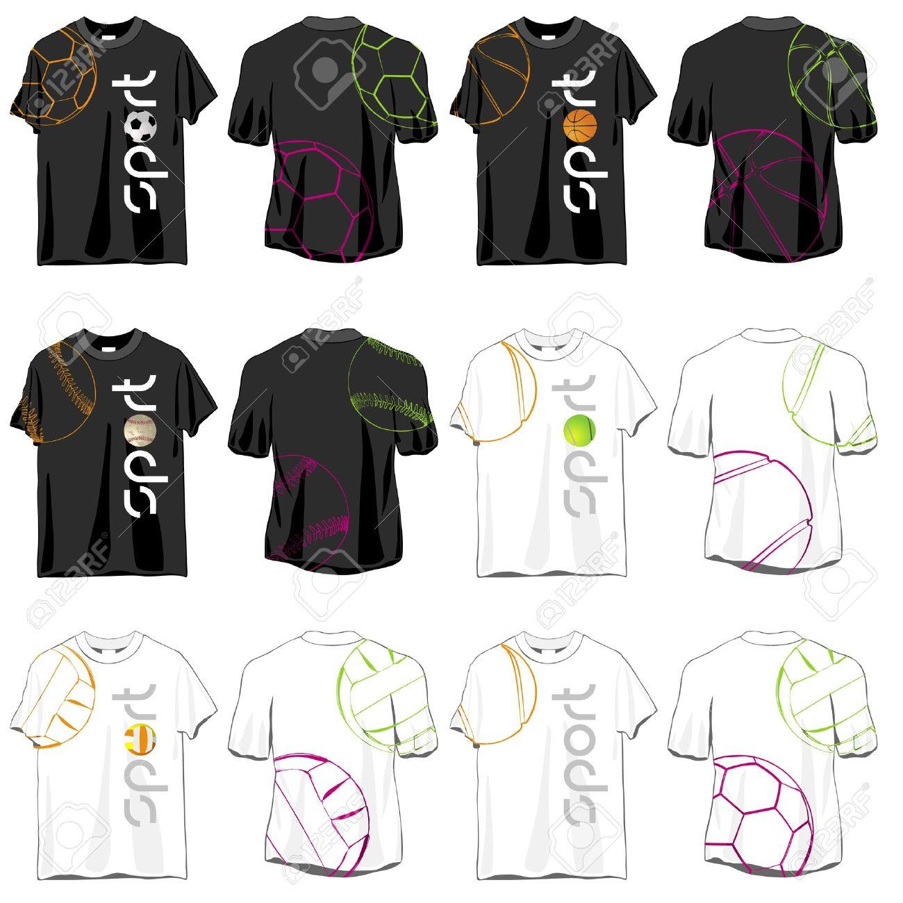 sport t shirts designs set stock vector 13106214 - Volleyball T Shirt Design Ideas
