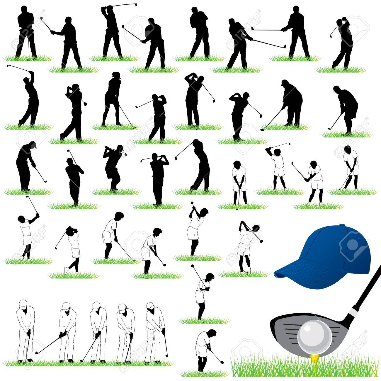 40 Detailed Golf Silhouettes Set Royalty Free Cliparts Vectors And