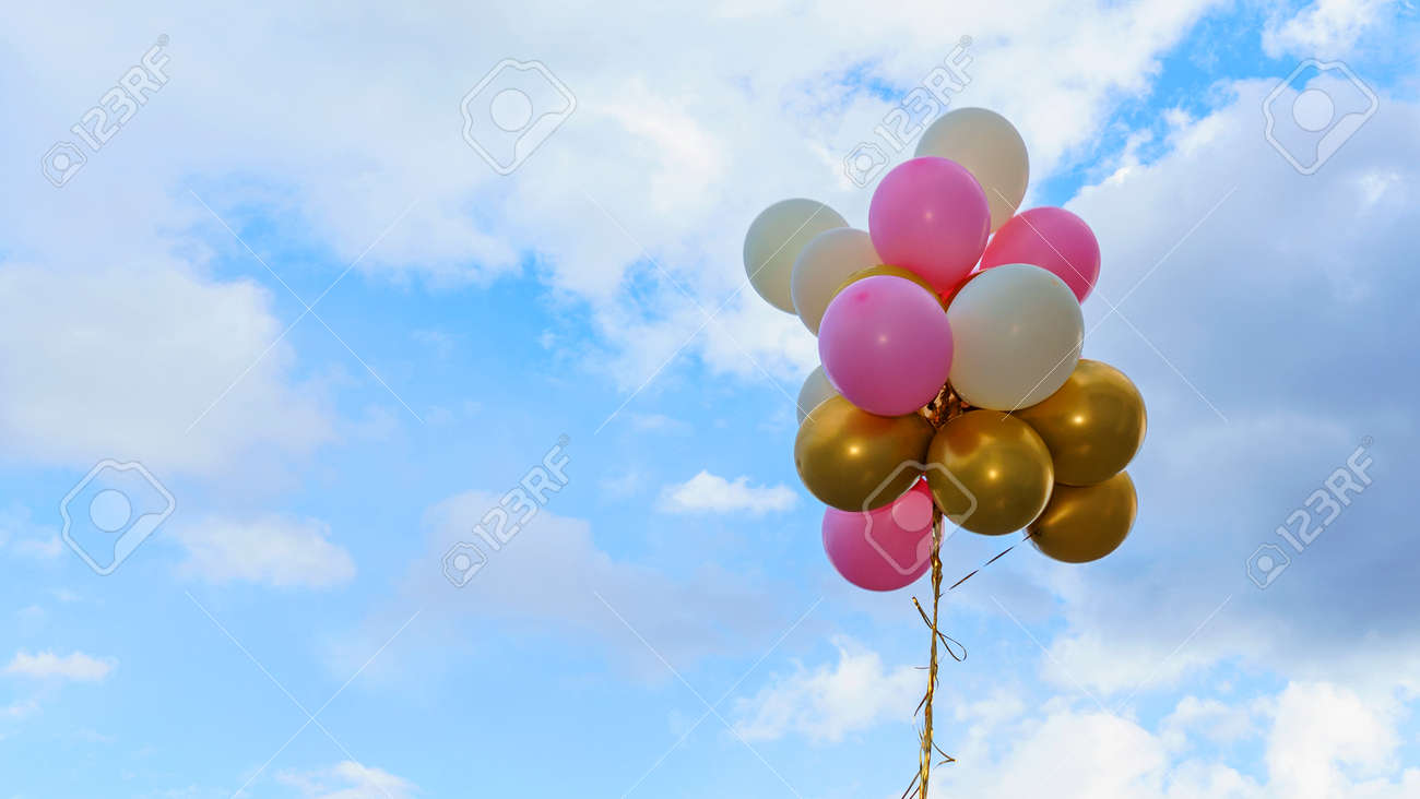 Colorful balloons on the classic blue background. Concept of happy birthday, wedding, party and vacations use for background. Space for text.e - 144740221