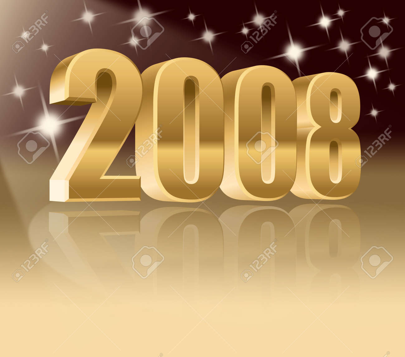 New Year, 3d 2008 number with reflections. Stock Photo - 1253702