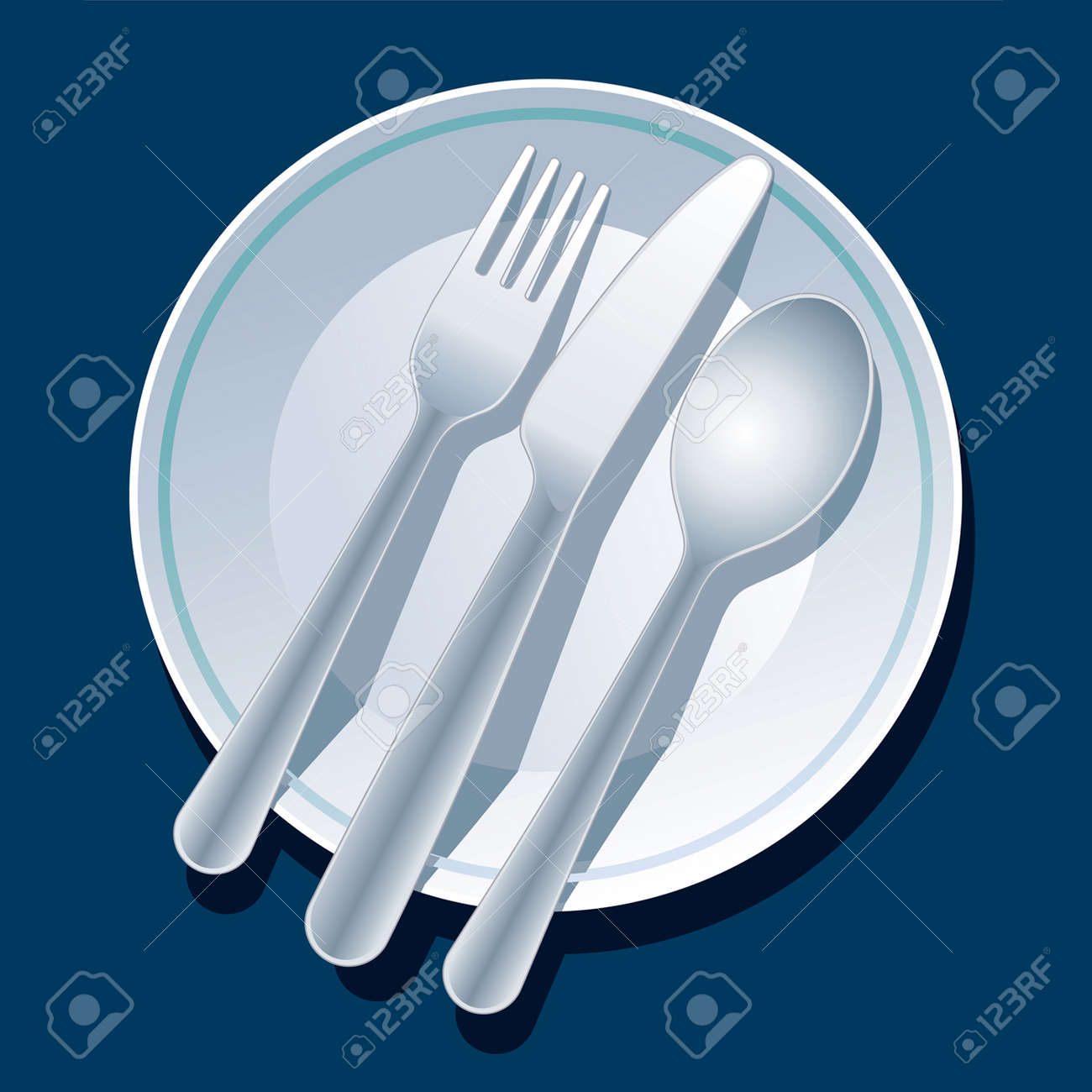 Blue place setting with plate, fork, spoon, knife Stock Vector - 1437598