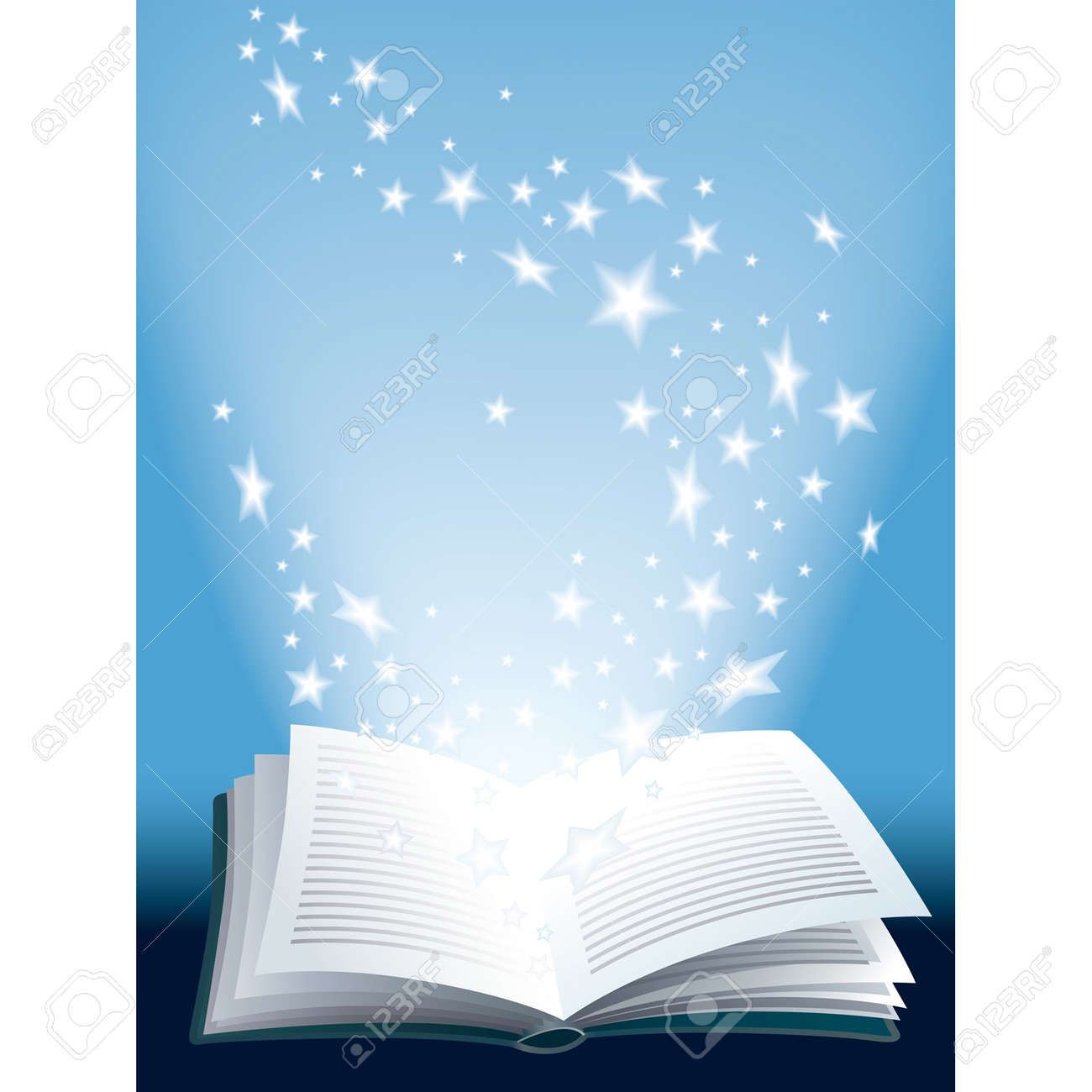 Open Magic Book With Flying Shining Stars Royalty Free Cliparts
