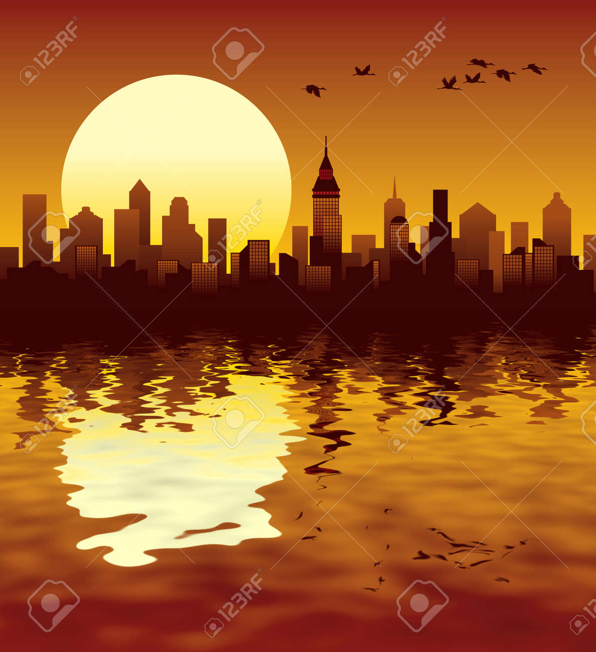 Sunset in a big modern city, illustration Stock Photo - 2549100