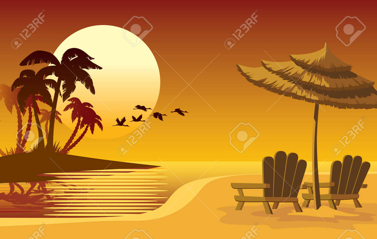 Summer landscape: sunset, beach, chairs and umbrella Stock Vector - 3077792