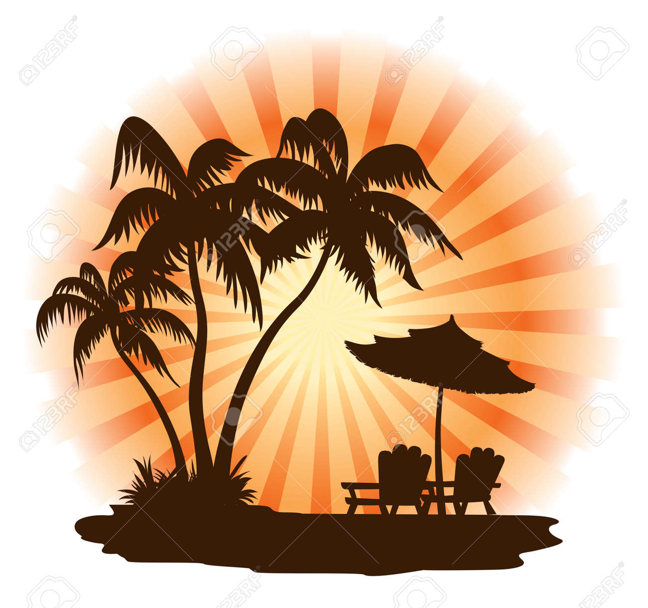 Beach sunset with chairs - Summer Landscape Sunset Palm Chairs And Umbrella Stock Vector 3159922