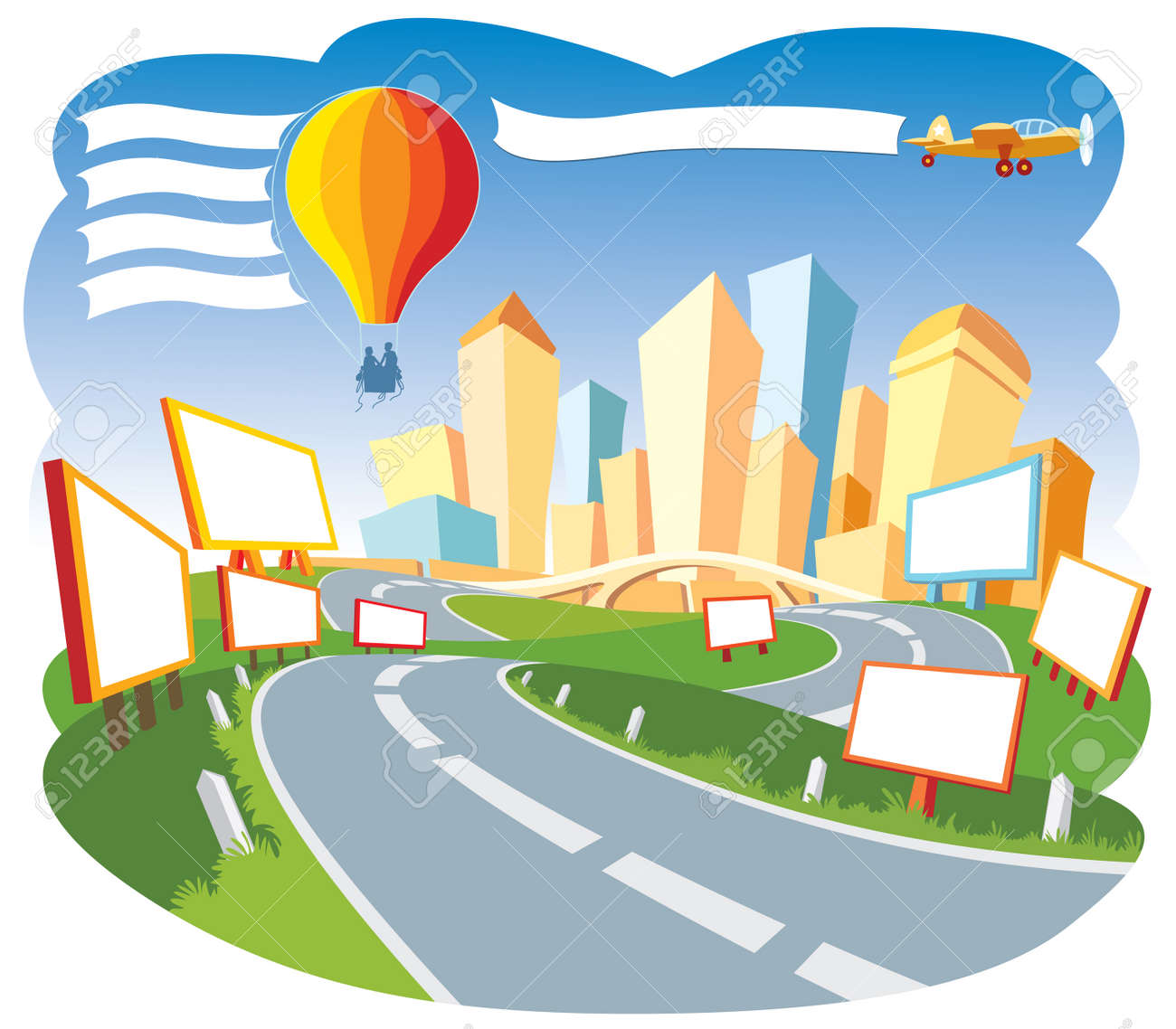 Road to a city center, nice template for a web page. Stock Vector - 3290409