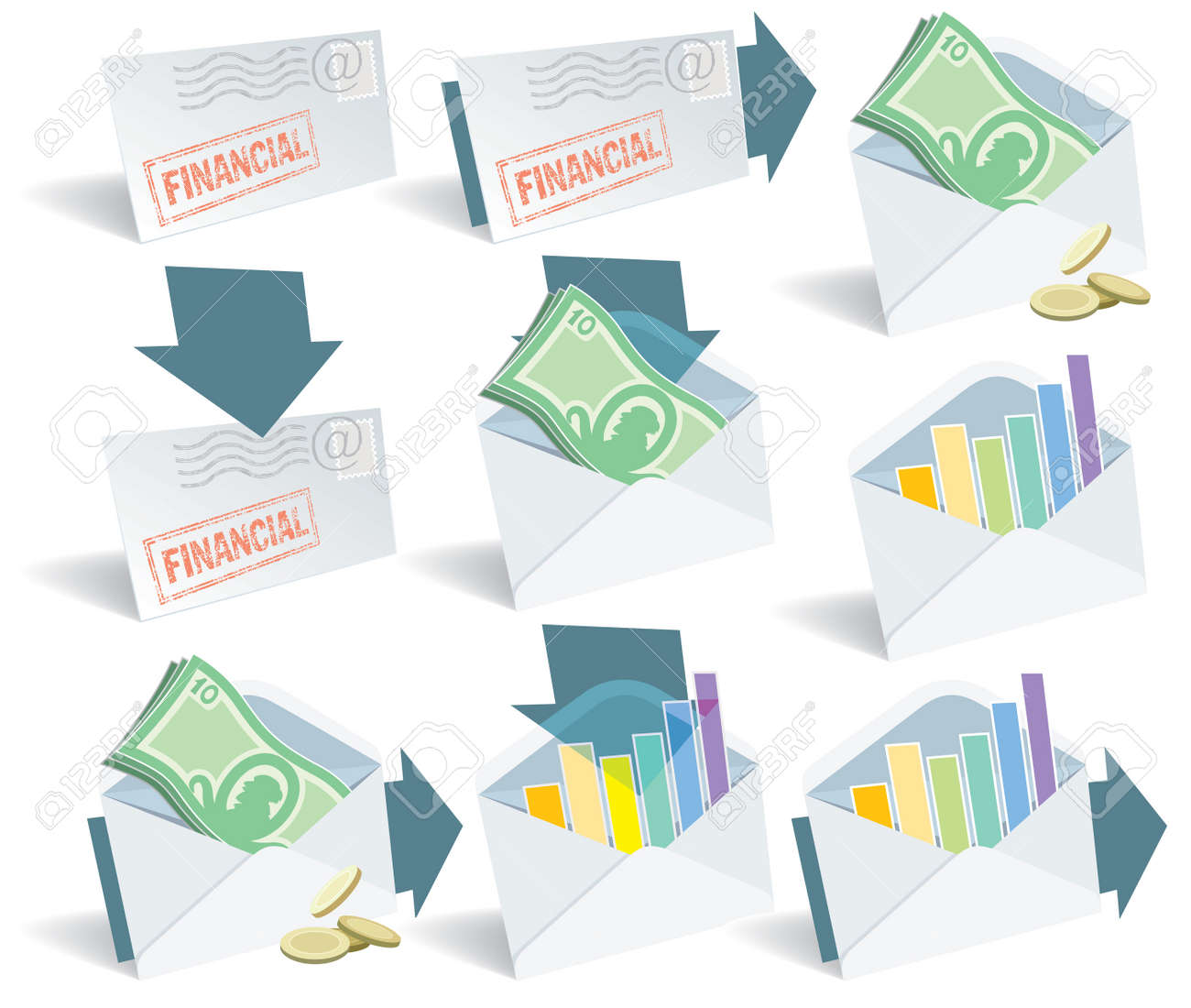 Financial email icon set, perfect for web use. Stock Vector - 3323120
