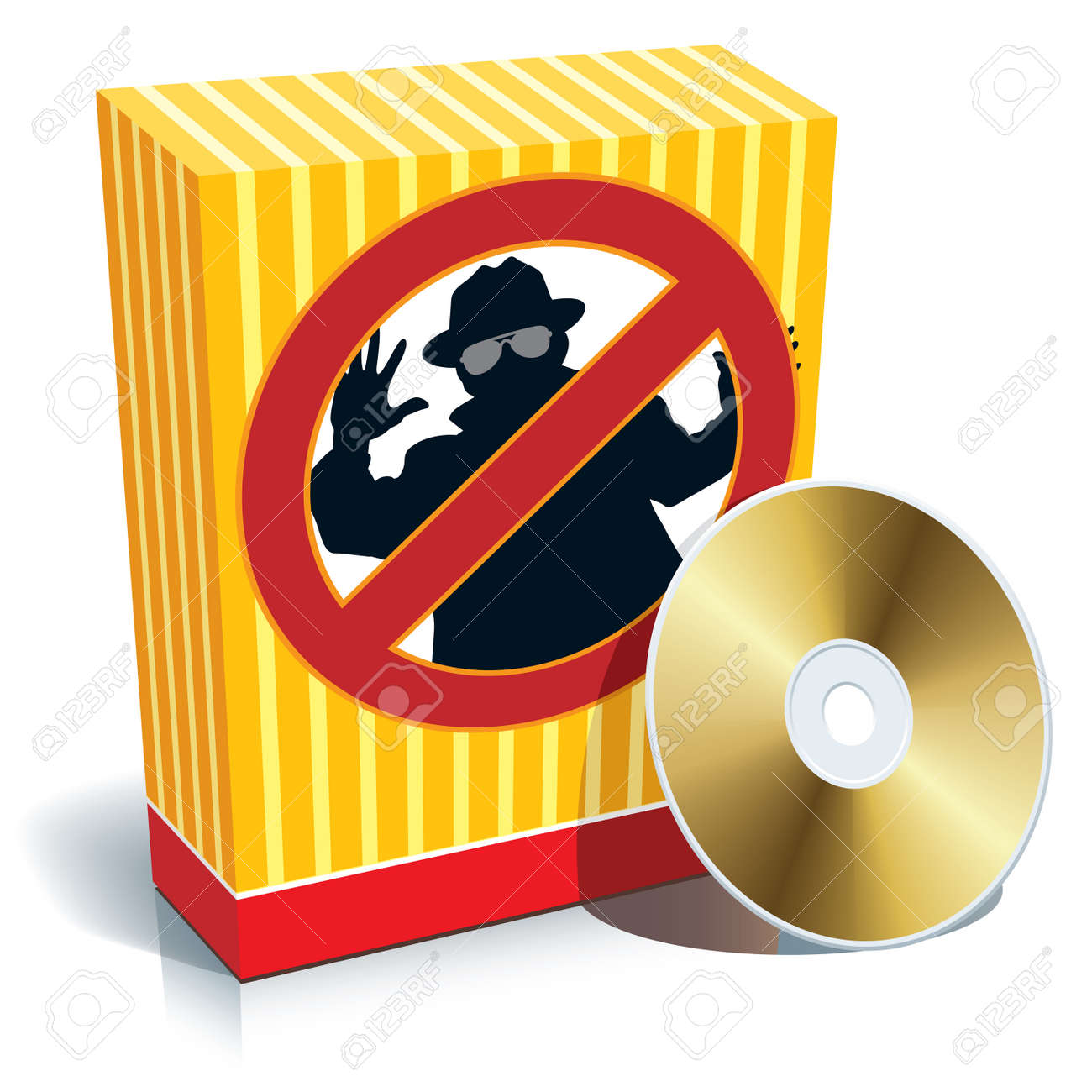 Blank 3d box with anti-spy sign and CD. Stock Vector - 3342322