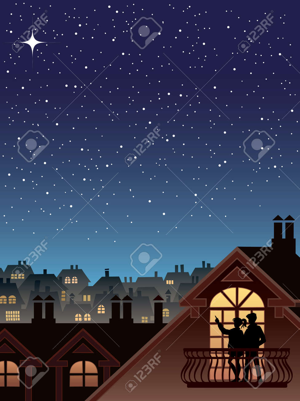 Two people are looking at the sky and stars Stock Vector - 3342321