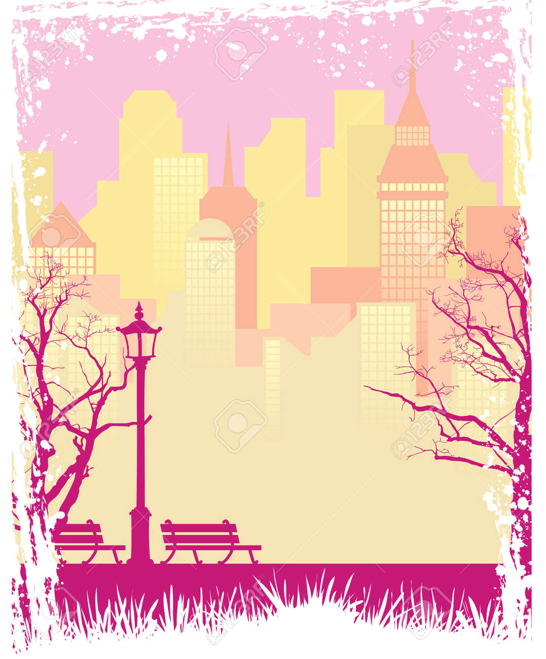 Grunge autumn background with a town and a park Stock Vector - 3595701