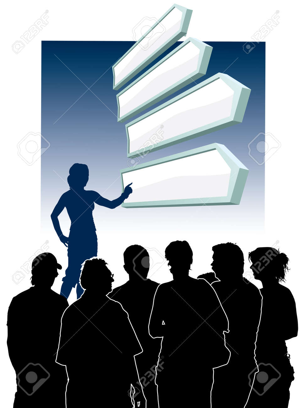 People are looking at a group of direction signs Stock Vector - 3684954