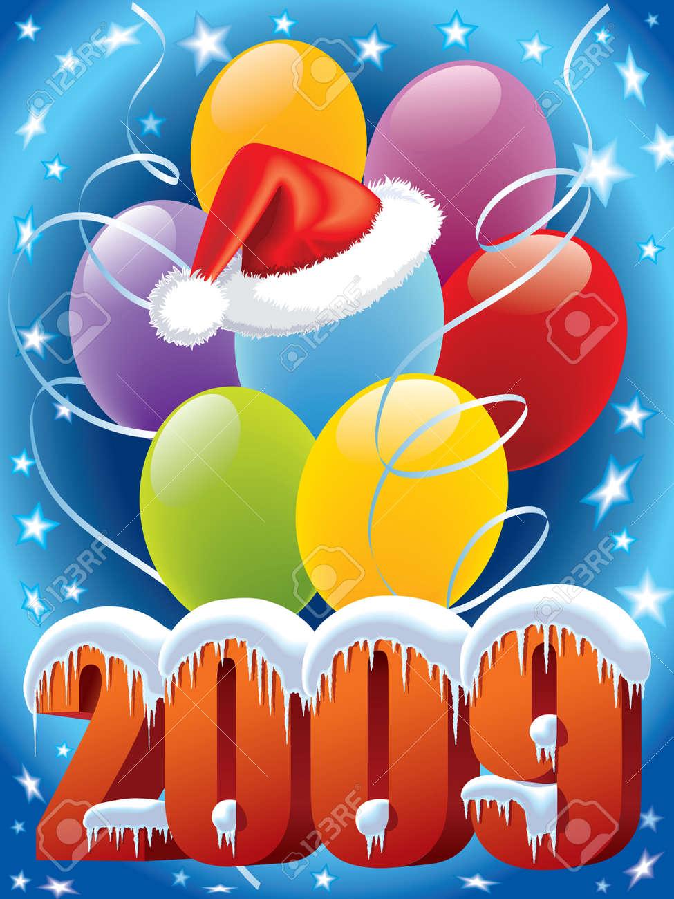 Archivio Fotografico - Capodanno decorazione con Babbo Natale e cappuccio  palloncini 74b1503b6b15