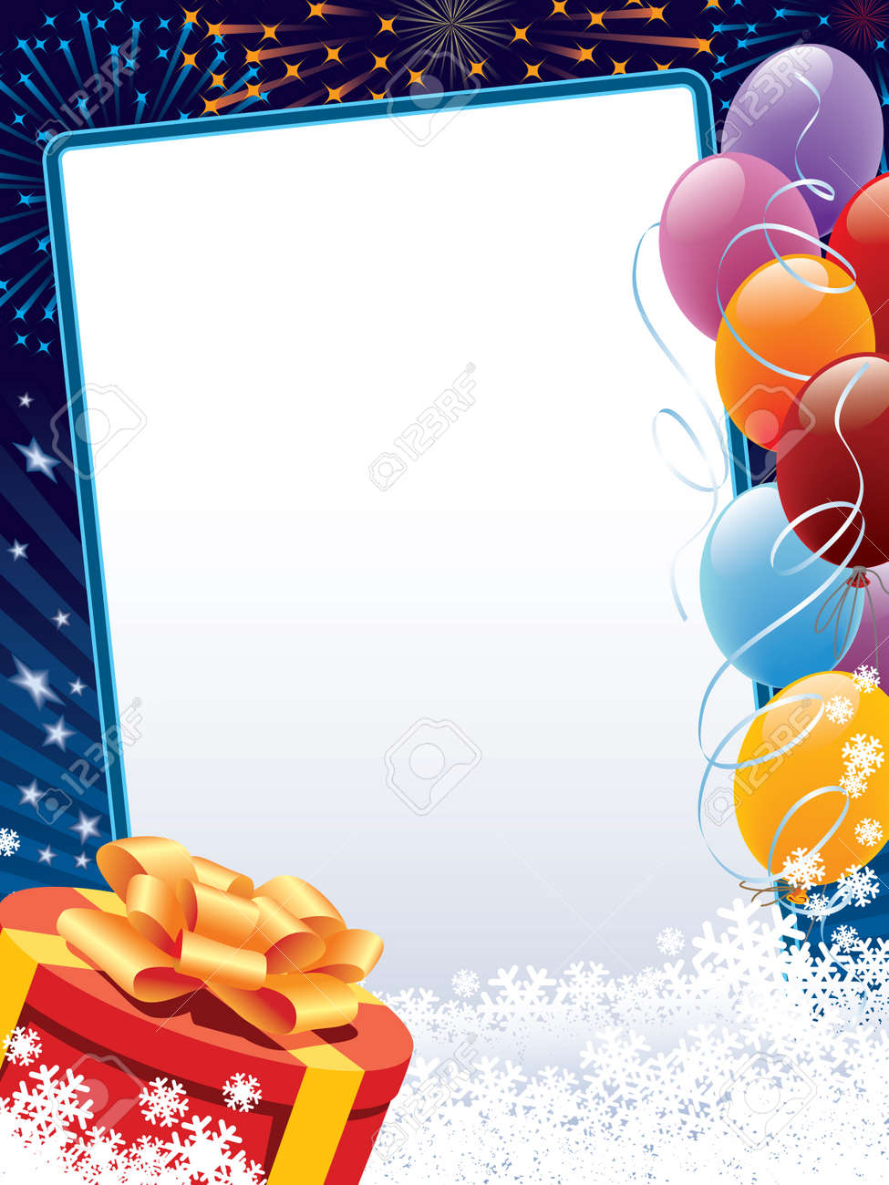 Carnival winter decoration with copy space, balloons and present Stock Vector - 3839762