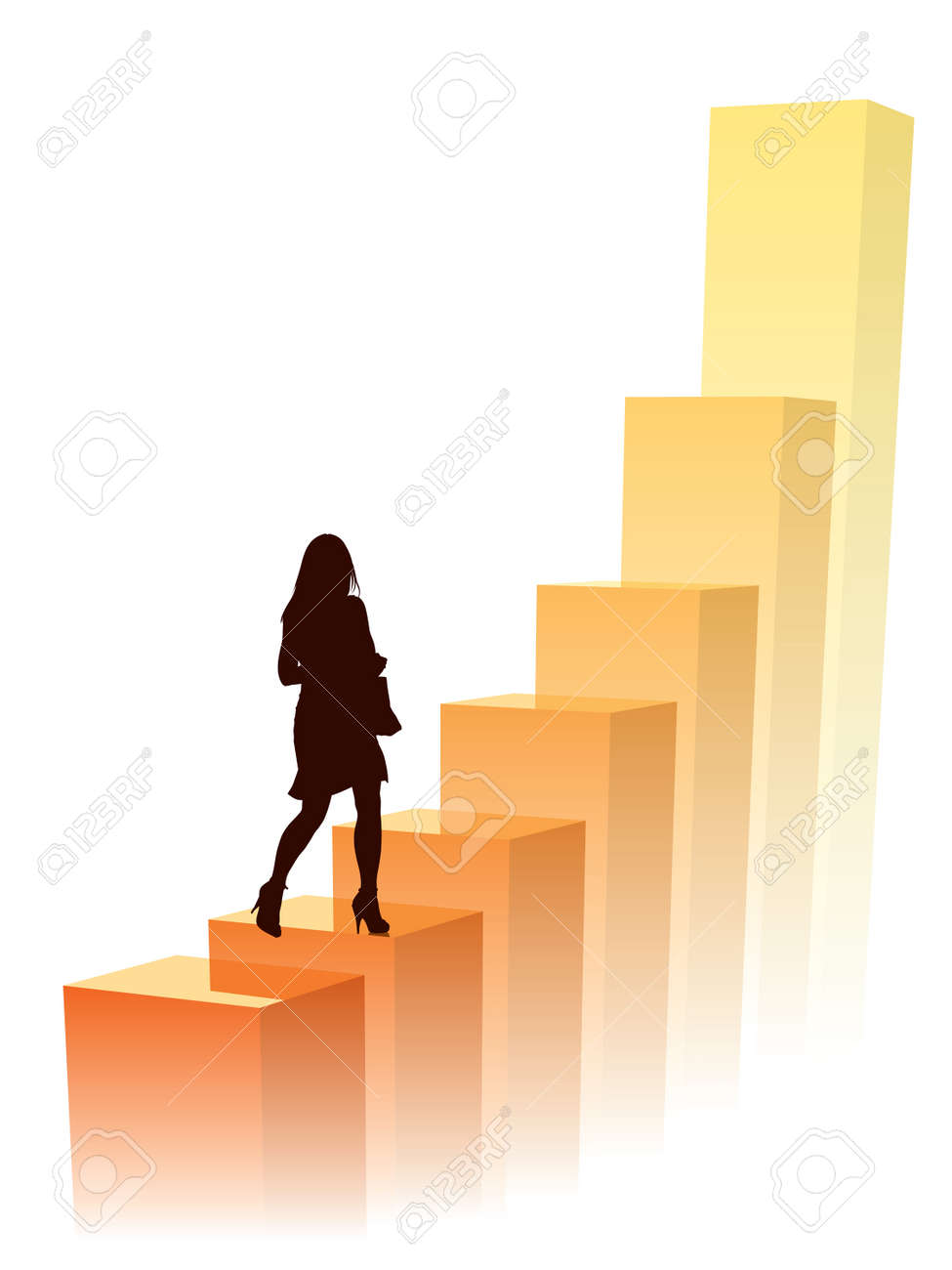 Businesswoman in a hurry, conceptual business illustration. Stock Vector - 3859559