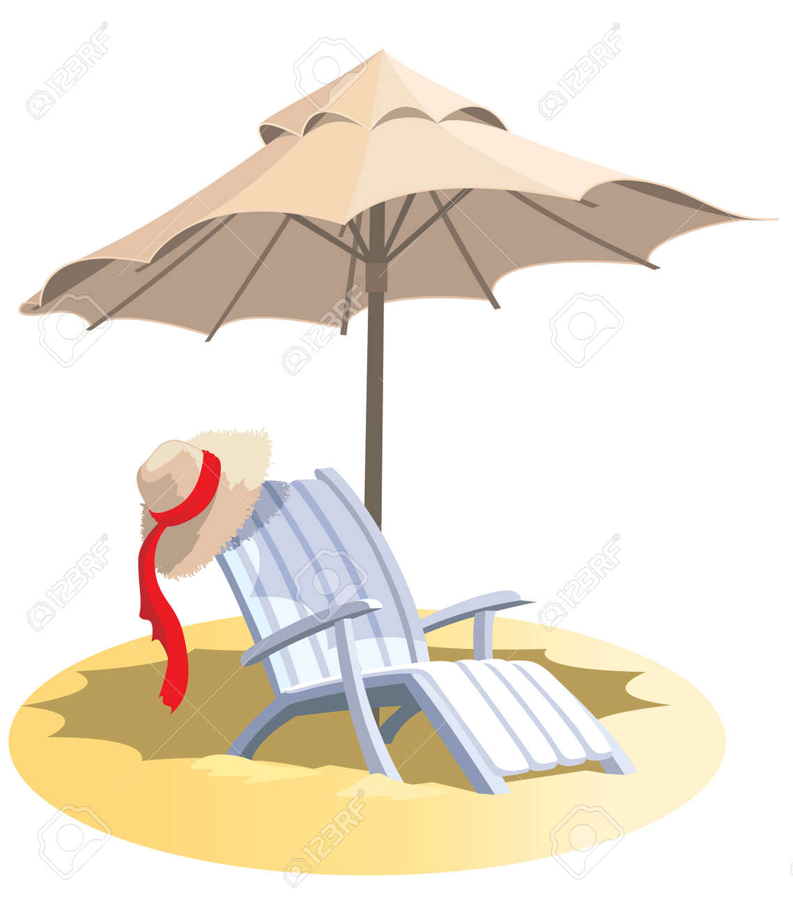 Beach chair and umbrella sketch - Summer Vacation Chair And Umbrella On A Tropical Beach Stock Vector 3867497