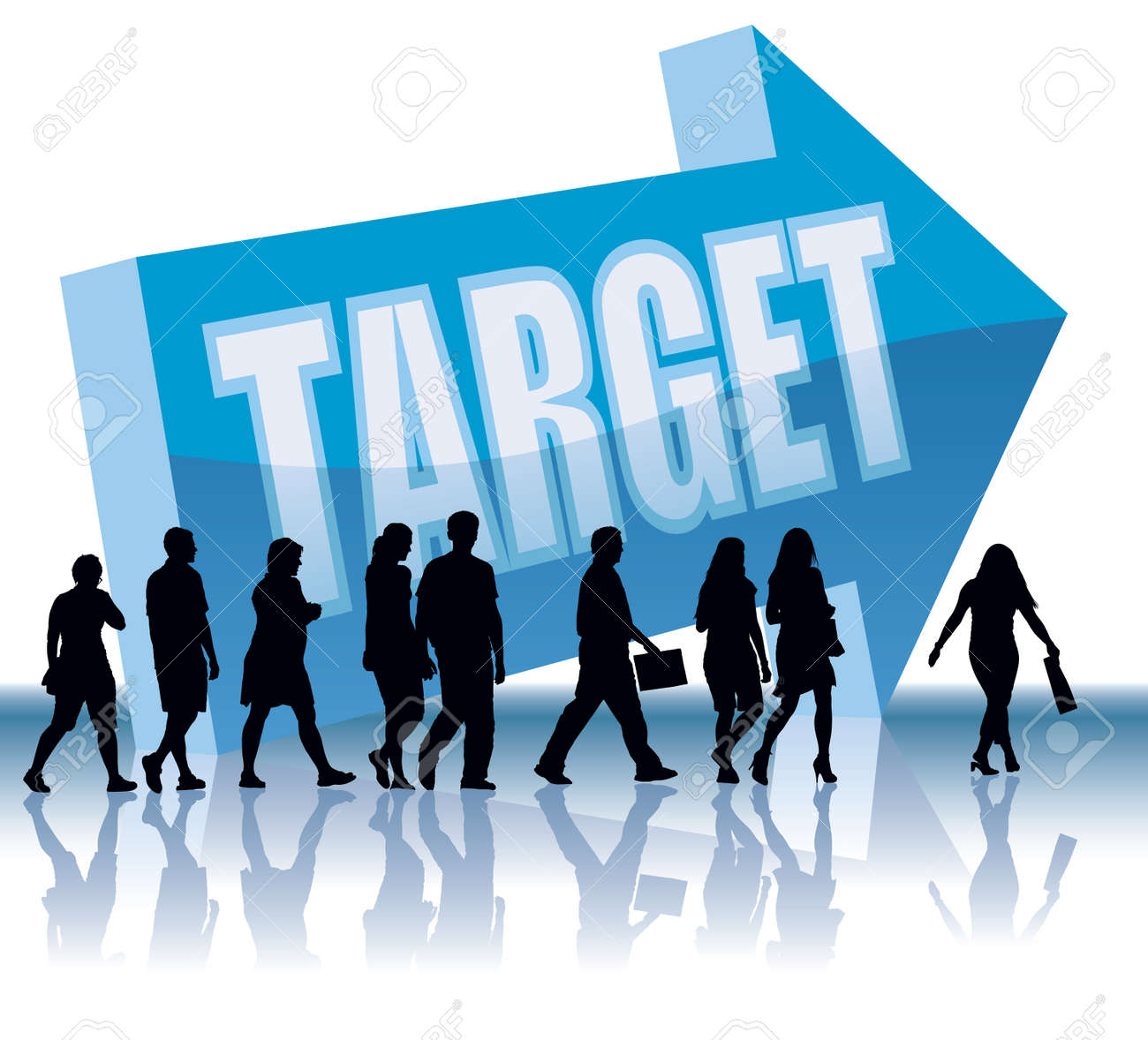 People are going to a direction - Target. Stock Vector - 3876063