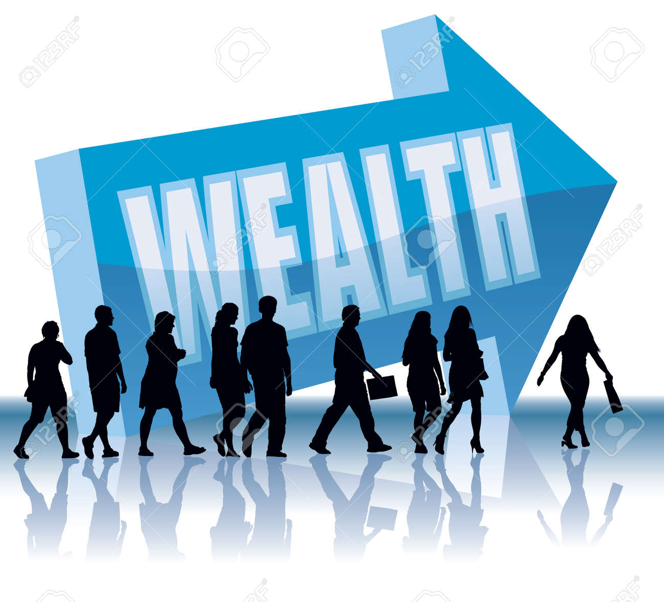People are going to a direction - Wealth. Stock Vector - 3900676