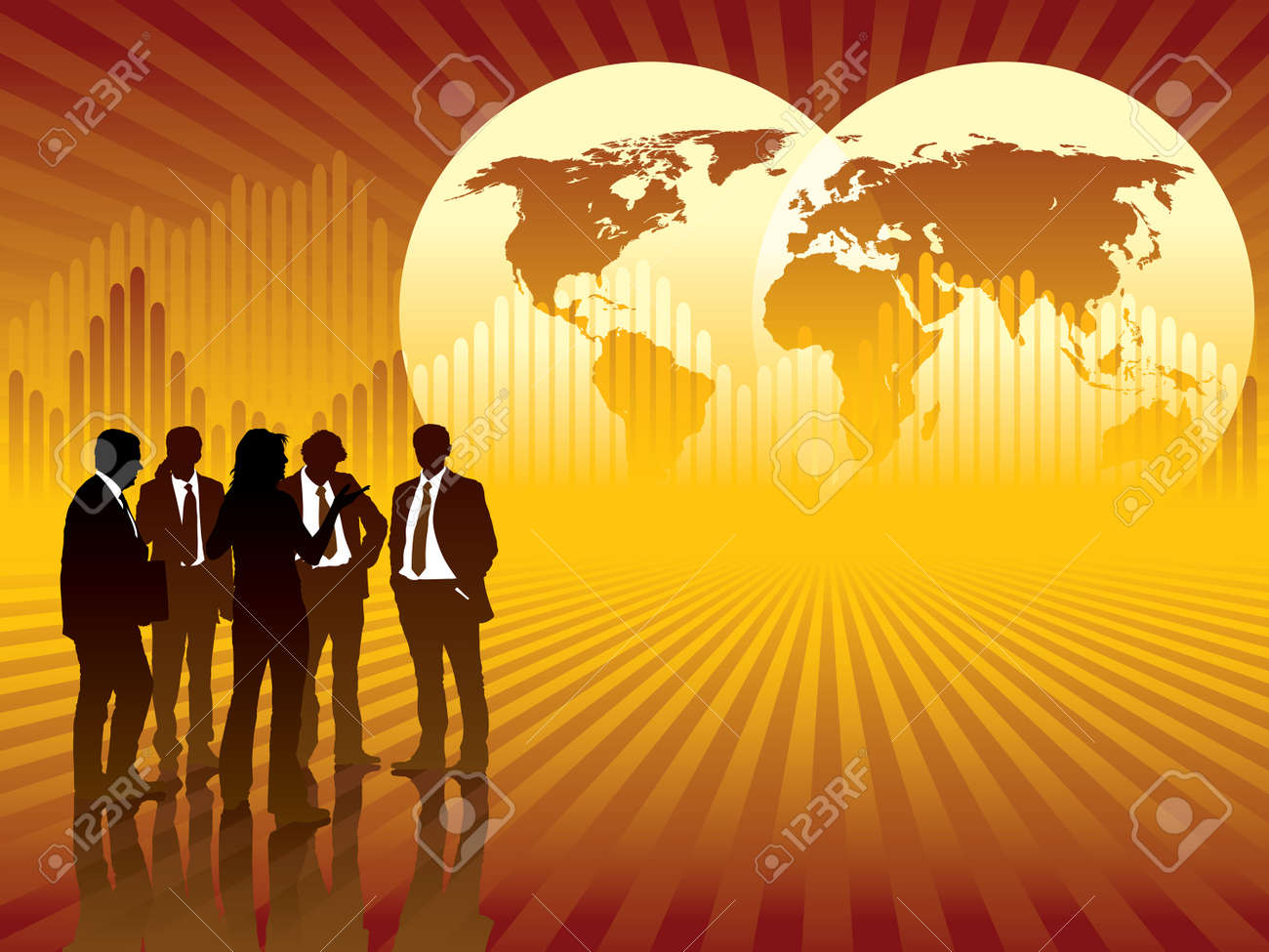 People are talking, world map and graph in the background, conceptual business illustration. Stock Vector - 3932811