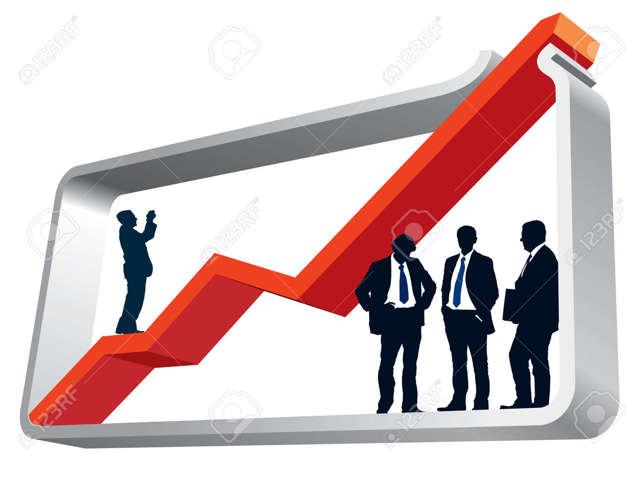 Businesspeople are standing in a large graph, conceptual business illustration. Stock Vector - 3947186