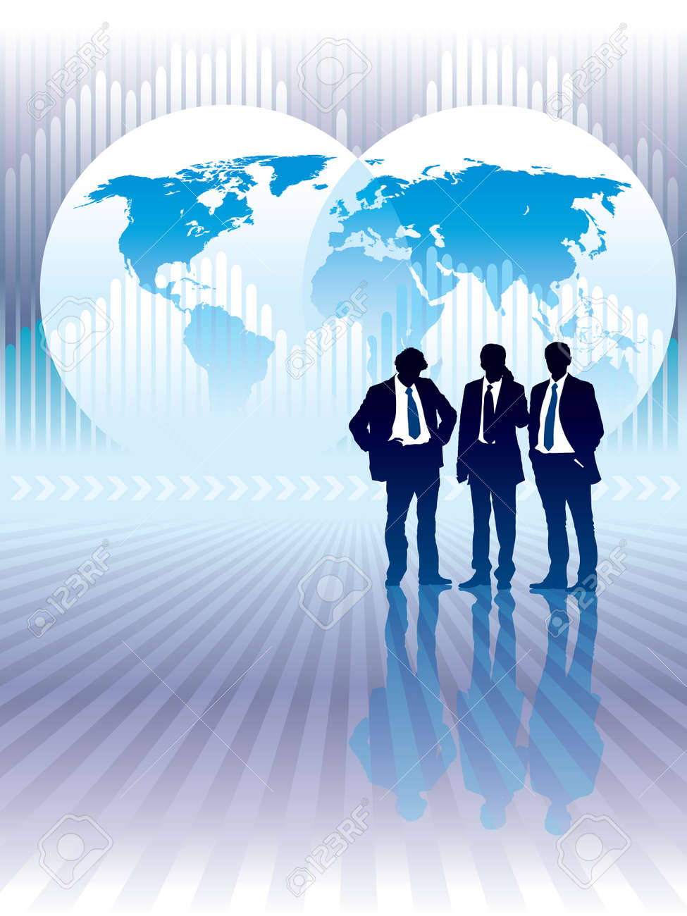 People are standing world map and graph in the background people are standing world map and graph in the background conceptual business illustration gumiabroncs Choice Image