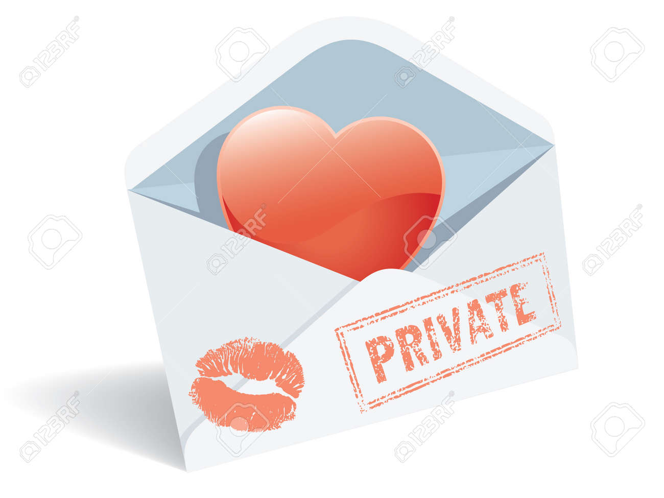 Love mail, envelope, heart and lipstick print. Stock Vector - 4251990