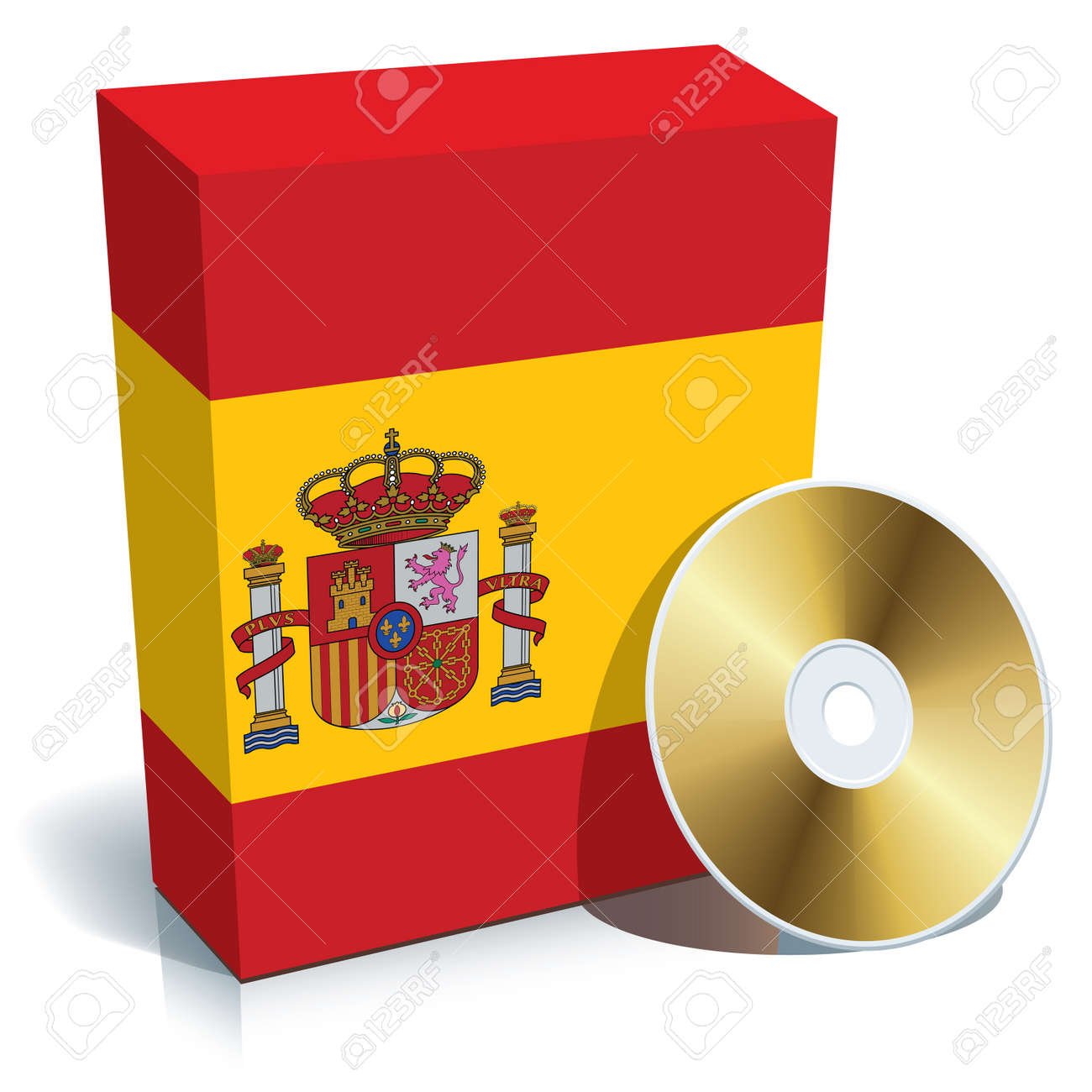 Spanish software box with national flag colors and CD. Stock Vector - 4251984