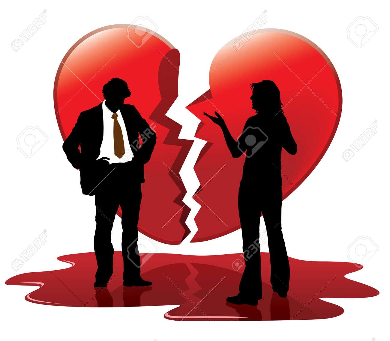 Dead love. People are talking, broken heart in the background. - 4251985