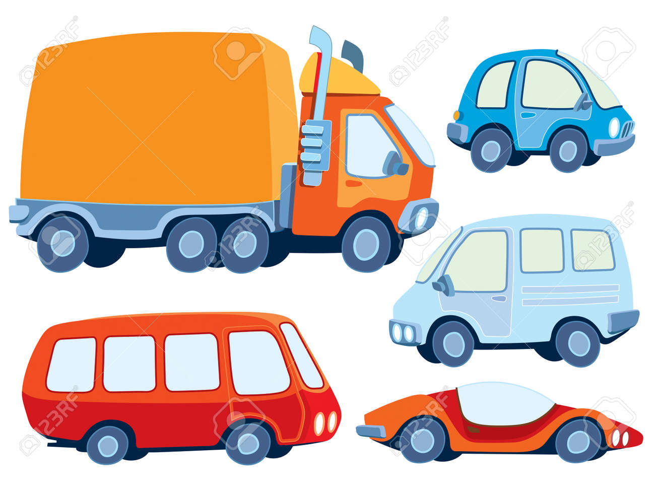 Collection of various funny hand-drawn cars - vector illustration Stock Vector - 4806080