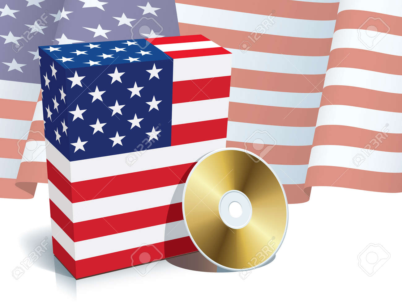 American software box with national flag and CD. Stock Vector - 4813305