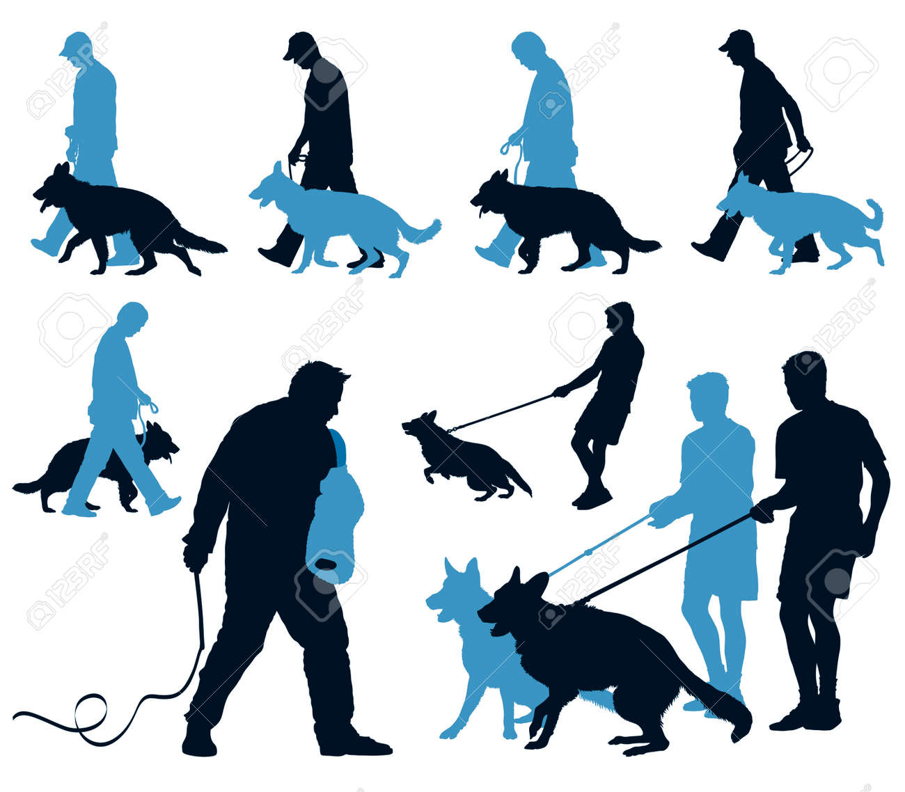 Young German Shepherd dogs at work at the dog school with their leaders Stock Vector - 5122689
