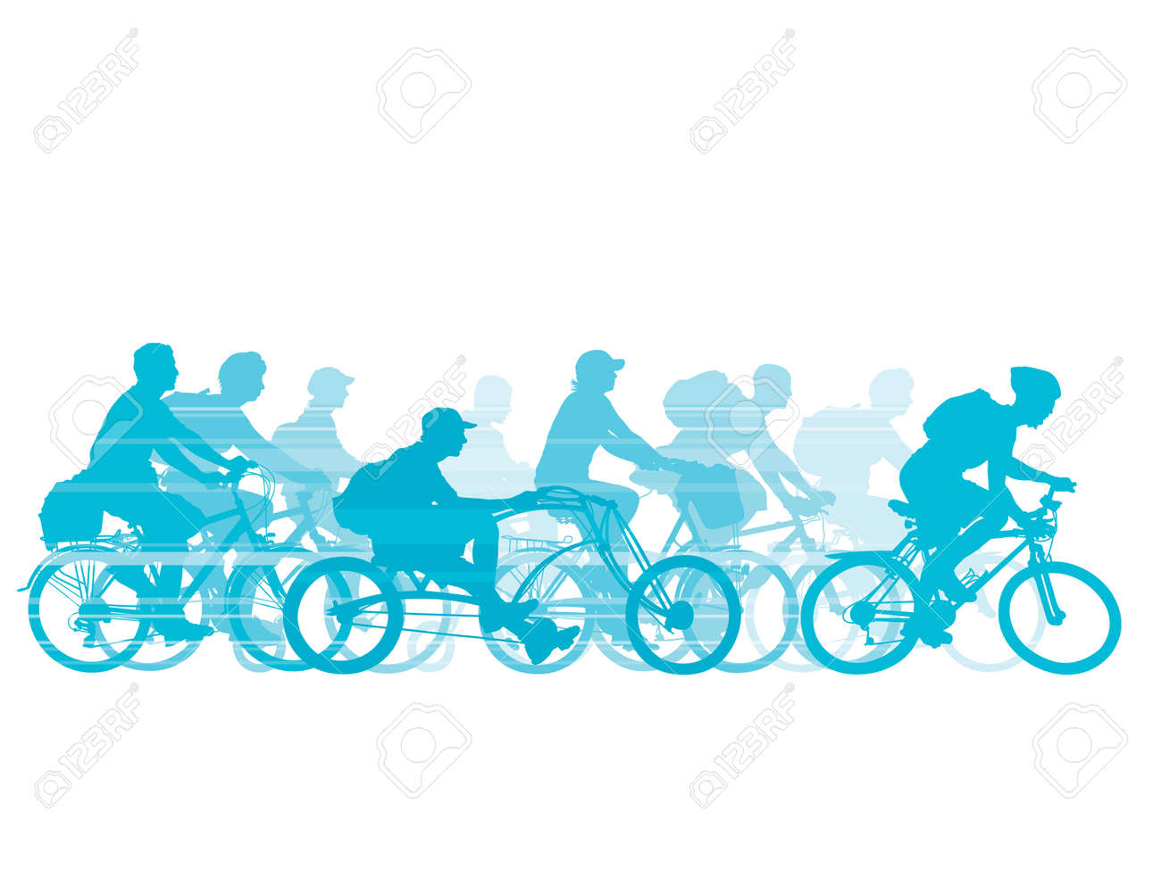 Group of cyclist on the road. Vector illustration. Stock Vector - 5249085