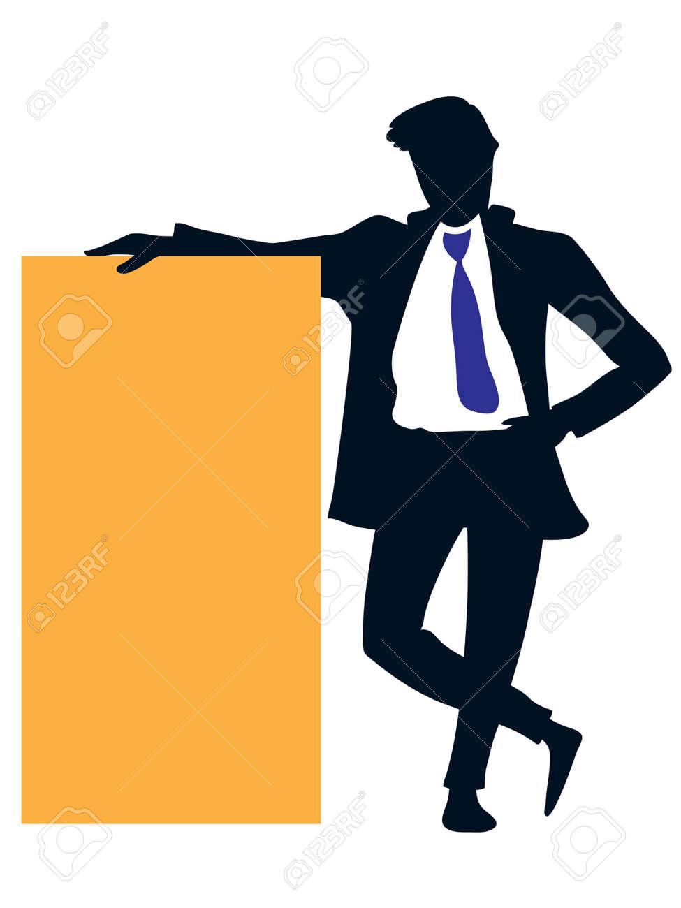 Businessman holding a big empty orange poster. Stock Vector - 5249086
