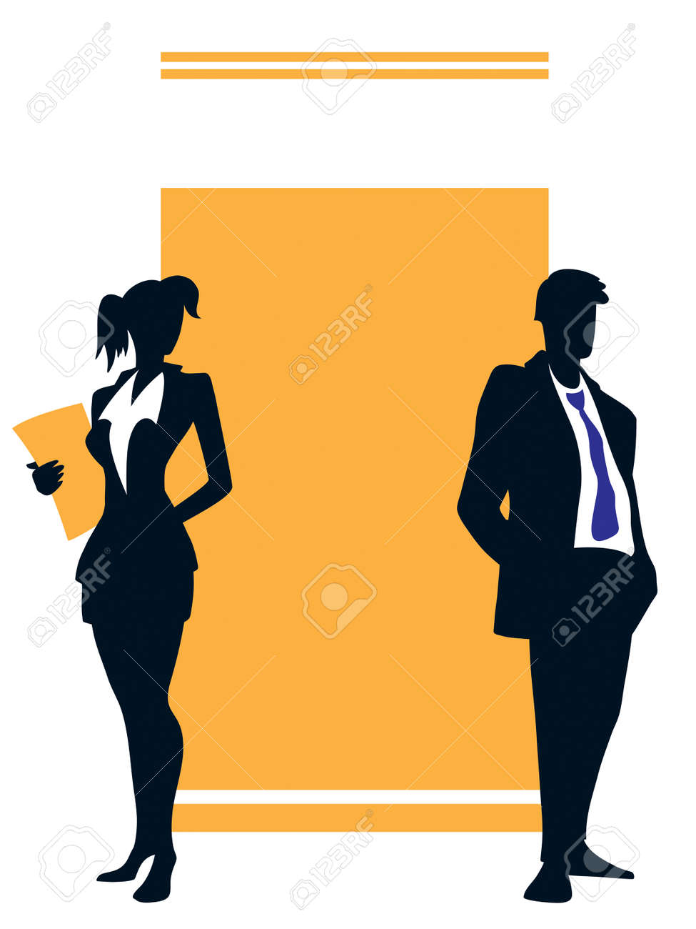 Two young professionals standing in front of a large blank sign Stock Vector - 5284714