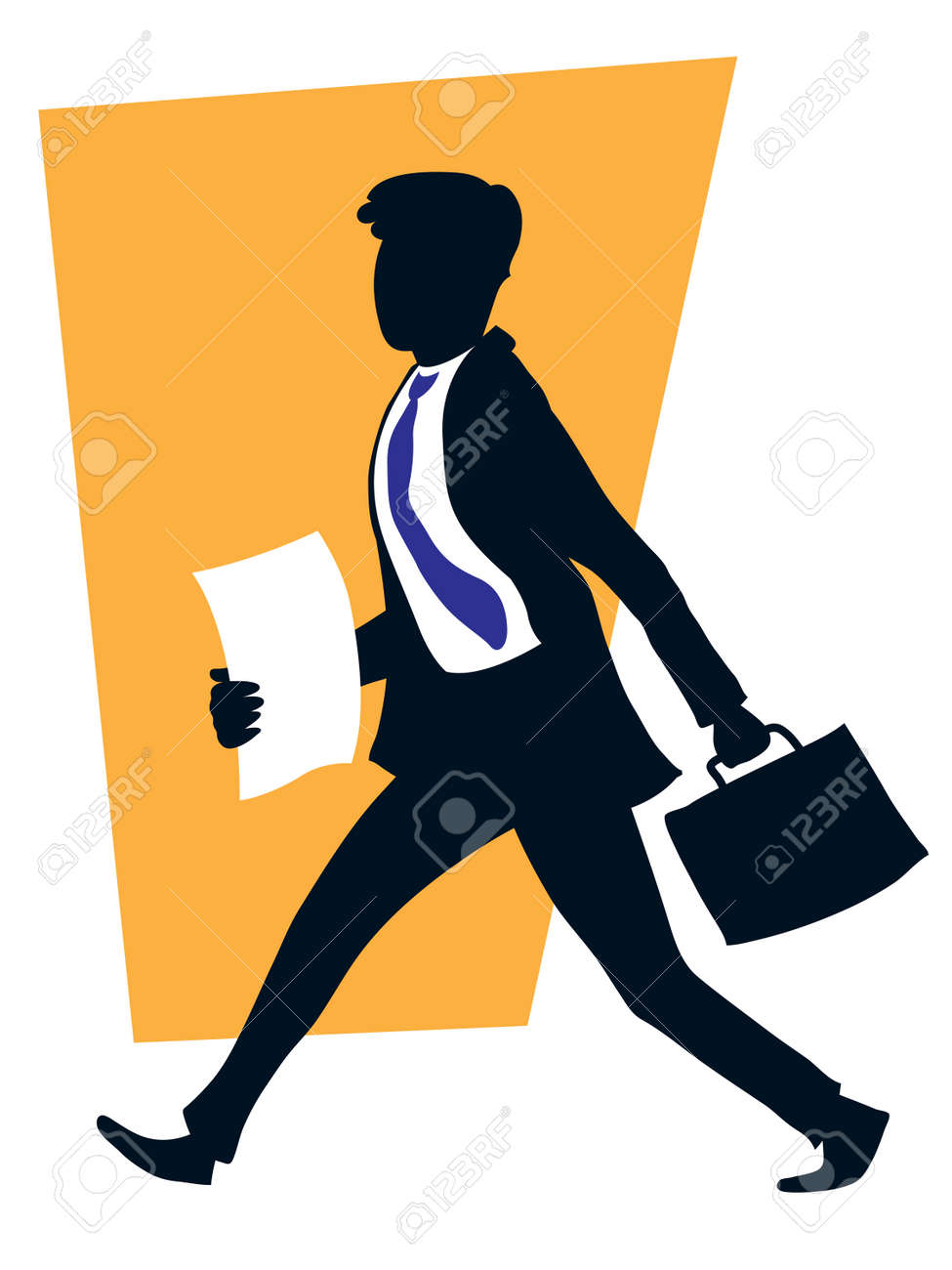 Successful handsome businessman walking with his suitcase. - 5284719