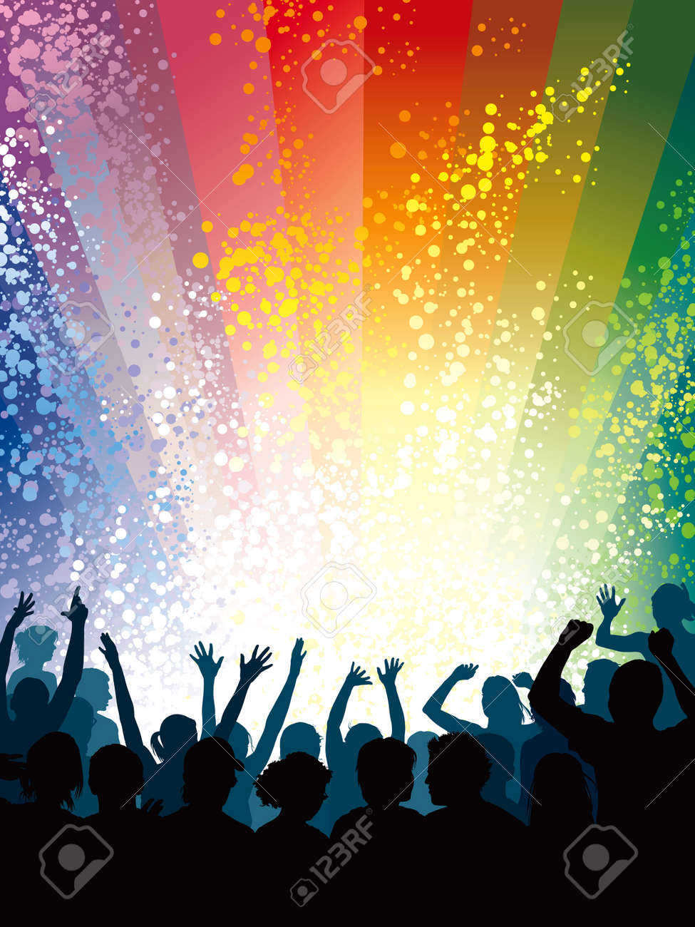 Concert crowd, a large group of cheering people. Stock Vector - 5576474