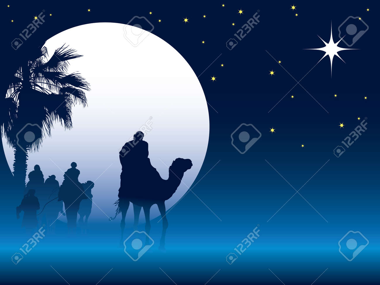 Nativity scene with wise men on camels going through the desert Stock Vector - 5909779