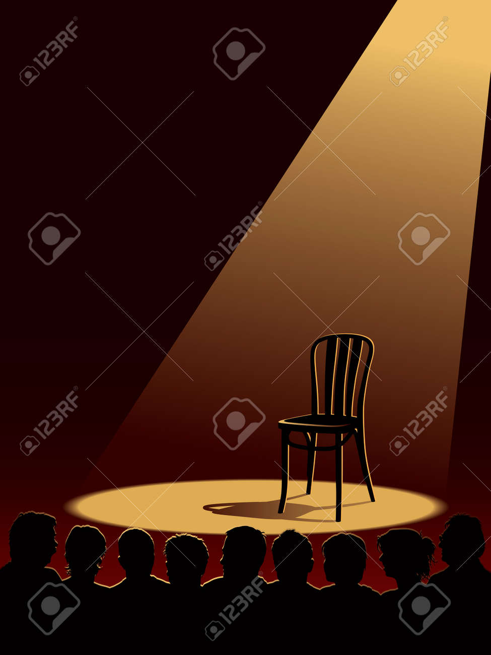 People are waiting for an actor, one empty chair on a stage. Stock Vector - 7000105